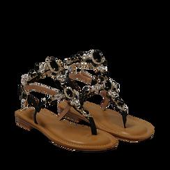 Sandali gioiello flat neri in eco-pelle, Primadonna, 134988245EPNERO035, 002a