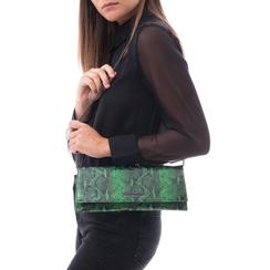 Pochette piatta verde in eco-pelle effetto snake, 145122509PTVERDUNI, 002a