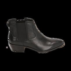 Chelsea boots neri in pelle di vitello, tacco 3,5 cm, Primadonna, 15J492413VINERO036, 001 preview