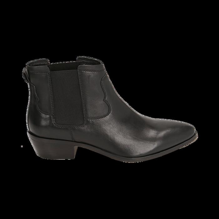 Chelsea boots neri in pelle di vitello, tacco 3,5 cm, Primadonna, 15J492413VINERO036