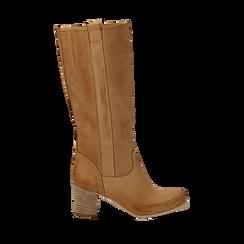 Stivali in nabuk colore cuoio con gambale traforato, Scarpe, 117000012NBCUOI036, 001a