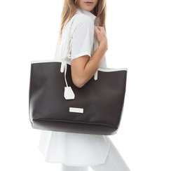 Maxi bag nero/bianca in eco-pelle,