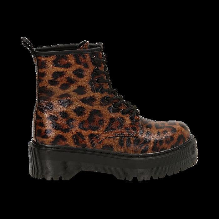 Botas militares con estampado de leopardo, Primadonna, 162800001EPLEMA036
