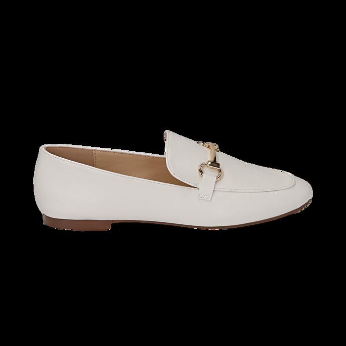 Mocasines eco-piel blanco, Zapatos, 154939181EPBIAN036