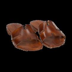 Ciabatte cuoio in pelle di vacchetta, Scarpe, 157245049VACUOI036, 002 preview