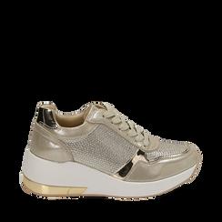 Sneakers oro in laminato con zeppa, Scarpe, 152802472LMOROG035, 001a