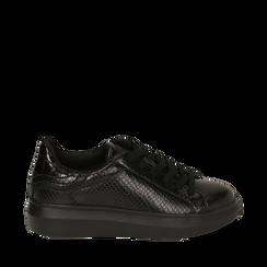Sneakers noires imprimé vipère, Primadonna, 162602011EVNERO035, 001a