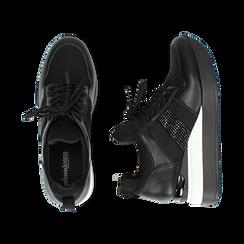 Sneakers nere in tessuto tecnico, zeppa 6 cm , Primadonna, 162801723TSNERO036, 003 preview