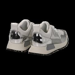 Sneakers bianche in tessuto tecnico dettagli glitter, Scarpe, 132619190TSBIAN036, 004 preview