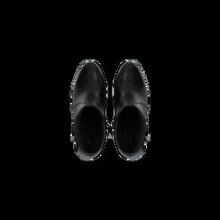 Tronchetti neri in vera pelle con cinturino, tacco 6 cm, Scarpe, 127718308PENERO, 004 preview