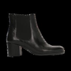Chelsea Boots neri in vera pelle, tacco quadrato medio 5,5 cm, Primadonna, 127722102PENERO, 001 preview