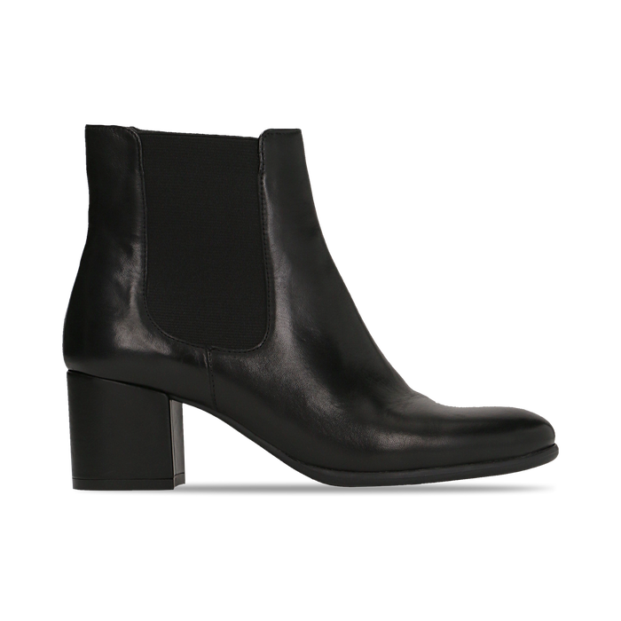Chelsea Boots neri in vera pelle, tacco quadrato medio 5,5 cm, Primadonna, 127722102PENERO
