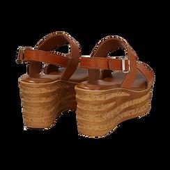 Sandali platform cuoio in eco-pelle, zeppa 8 cm , Saldi, 13A133255EPCUOI036, 004 preview