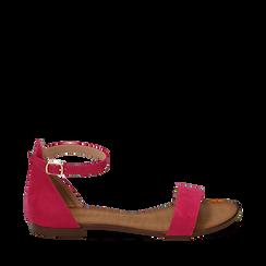 Sandali fucsia in microfibra, Chaussures, 154903091MFFUCS035, 001a