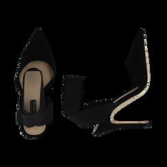 Slingback nere in microfibra, con cinturino elastico, tacco 11,50 cm, Primadonna, 131732354MFNERO036, 003 preview