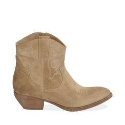 Camperos taupe in camoscio, tacco 4 cm, Scarpe, 157732901CMTAUP035, 001a