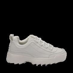 Dad shoes bianche in eco-pelle con suola sagomata, Scarpe, 130101201EPBIAN036, 001a