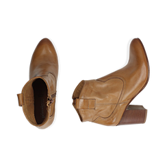 Bottines camel en cuir, talon 7,50 cm , Chaussures, 157725926PECUOI036, 003 preview