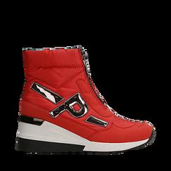 Sneakers a calza rosse in tessuto tecnico, zeppa 6 cm , Scarpe, 14A718203TSROSS036, 001a