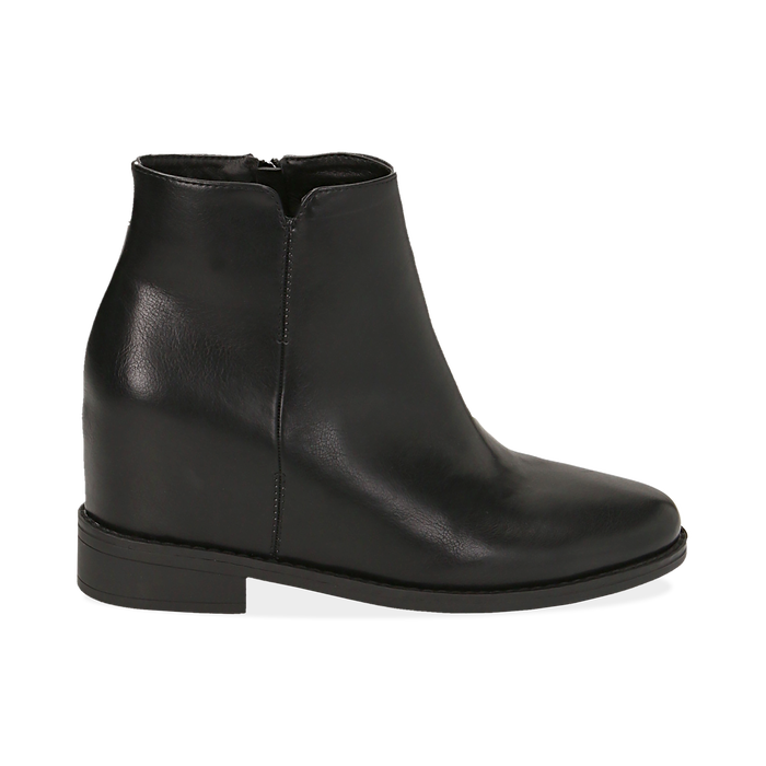 Ankle boots neri in eco pelle con zeppa interna