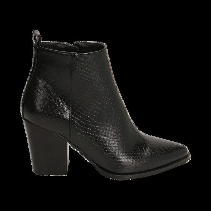 Ankle boots neri stampa vipera, tacco 8,50 cm , Primadonna, 160585965EVNERO035