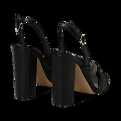 Sandali neri in eco-pelle con nodo, tacco 10 cm, Sandali con tacco, 132760842EPNERO, 004 preview