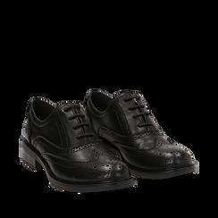 Stringate nere in eco-pelle con lavorazione Duilio, Scarpe, 140618203EPNERO035, 002a