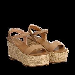Sandali platform cuoio in eco-pelle, zeppa in corda 8 cm, Primadonna, 134983293EPCUOI035, 002a