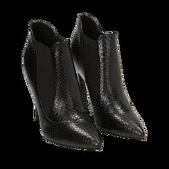 Ankle boots neri stampa vipera, tacco 10,50 cm , Primadonna, 162123741EVNERO035, 002a