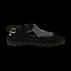Sandali neri in microfibra con strass, Primadonna, 134928316MFNERO036, 001 preview