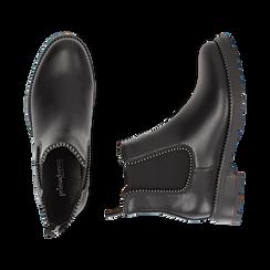 Chelsea boots neri in eco-pelle con micro boules, Scarpe, 140691301EPNERO036, 003 preview