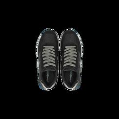 Sneakers nere dettagli glitter e metallizzati , Scarpe, 121308201LMNERO, 004 preview