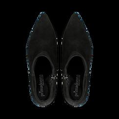Tronchetti neri in vero camoscio, tacco a rocchetto basso 6 cm+, Primadonna, 127200154CMNERO, 004 preview