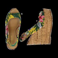 Sandali platform gialli, stampa flower, zeppa in sughero 12 cm , Primadonna, 134954061TSGIAL037, 003 preview