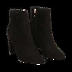 Ankle boots neri in microfibra, tacco 8,5 cm , Scarpe, 144925791MFNERO035, 002a
