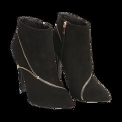 Ankle boots neri con zip, tacco 10,50 cm , Stivaletti, 142150061MFNERO037, 002 preview