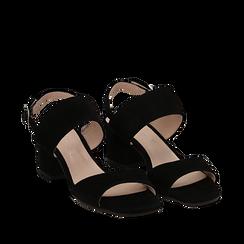 Sandali neri in camoscio, tacco chunky 6 cm, Saldi, 13D602056CMNERO035, 002a