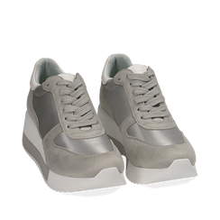 Dad Shoes en satin gris, Chaussures, 152821511RSGRIG036, 002a