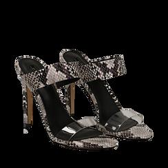 Sandali con punta affusolata nero/bianchi in eco-pelle, listino in pvc, tacco 11 cm, Sandali con tacco, 131732601PTNEBI035, 002a