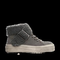 Sneakers grigie con risvolto in eco-shearling, Scarpe, 124110063MFGRIG036, 001a