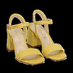 Sandalo giallo in microfibra, tacco 8 cm, Sandali con tacco, 136100006MFGIAL038, 002a