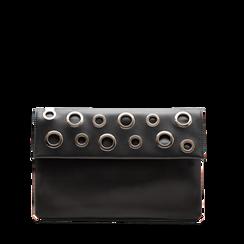 Pochette nera in ecopelle, Borse, 123308604EPNEROUNI, 001a