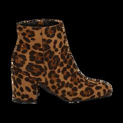 Ankle boots leopard in microfibra, tacco 7,5 cm , Stivaletti, 142762715MFLEOP037, 001 preview