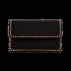 Pochette nera in microfibra scamosciata con profili borchiette, Saldi, 123308832MFNEROUNI, 001 preview