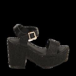 Sandali neri in rafia, tacco-zeppa 10 cm , Zapatos, 154955172RFNERO036, 001a