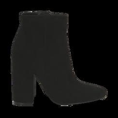 Ankle boots a punta neri in microfibra, tacco 11 cm , Stivaletti, 142186942MFNERO035, 001a