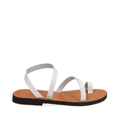 Sandali minimal bianchi in pelle di vacchetta, 138100064VABIAN035, 001a