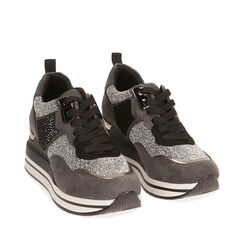 Sneakers grigie in tessuto, zeppa 6 cm , Primadonna, 182817233TSGRIG035, 002a