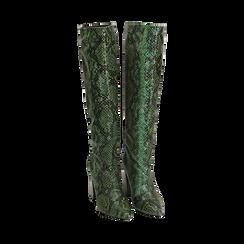Stivali verdi in eco-pelle stampa pitone, tacco 9,5 cm , Stivali, 142166710PTVERD036, 002 preview