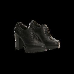 Francesine stringate nere con tacco alto, plateau e rifiniture, Scarpe, 128401245EPNERO, 002 preview